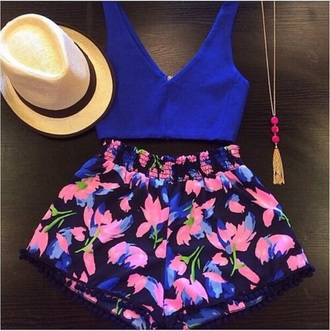 top blue shirt tank top shirt hat shorts