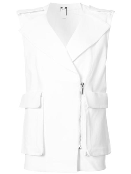 Thomas Wylde - large pocket sleeveless jacket - women - Cotton/Polyester/Spandex/Elastane/Tencel - 8, White, Cotton/Polyester/Spandex/Elastane/Tencel
