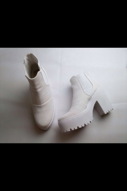 shoes beige boots heels white