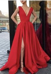 dress,red dress,deep v,formal dress,plunge v neck