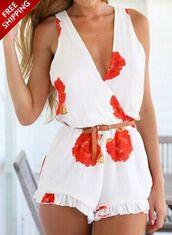 romper,white,deep v,floral,sleeveless