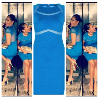 dress blue dress mesh dress mesh bodycon dress clothes adrienne bailon light blue