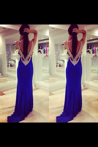 dress blue prom dress blue low back