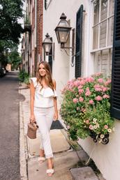 top,ruffled top,tumblr,asymmetrical,asymmetrical top,white top,ruffle,pants,white pants,cropped pants,shoes,mules,embellished sandals,embellished,bag