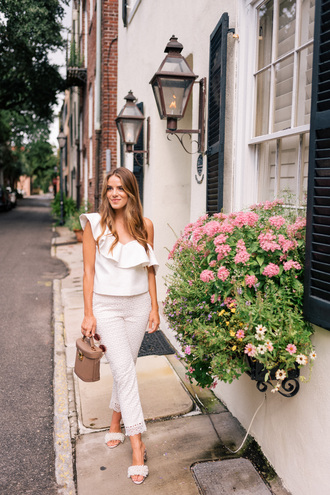 top ruffled top tumblr asymmetrical asymmetrical top white top ruffle pants white pants cropped pants shoes mules embellished sandals embellished bag