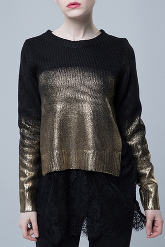 sweater ombre winter outfits fall outfits gold black crop short shiny metallic