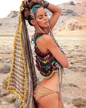 make-up,burning man,burning man clothing,burning man costume,top,crop tops,multicolor,bikini bottoms,nude bikini bottom,scarf,hair accessory,bracelets,festival,festival jewelry,music festival
