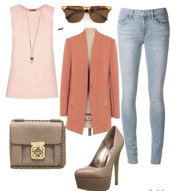 top jacket blazer jeans style shoes fashion purse handbag bag tank top sunglasses jewels