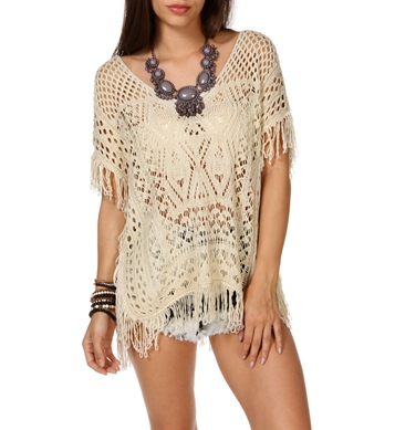 Oatmeal Open Knit Cover-Up