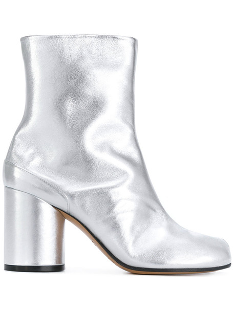 MAISON MARGIELA women leather grey metallic shoes