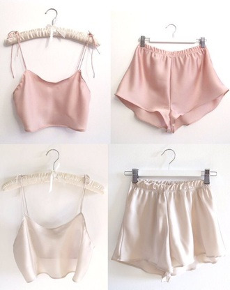 shorts cute flowy shorts comfort pajamas top outfit sleep pastel silk sleepwear