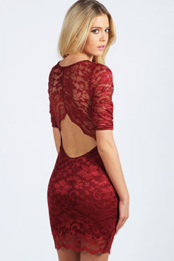 Nina Scallop Detail Open Back Lace Bodycon Dress at boohoo.com