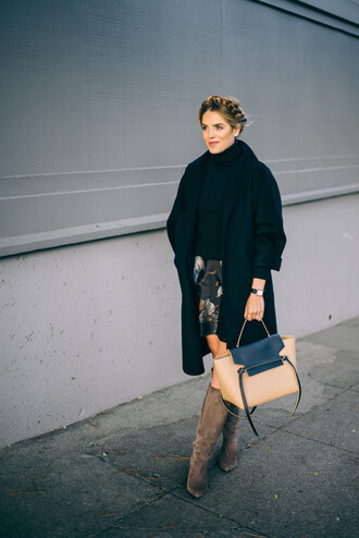 gal meets glam blogger suede boots designer bag black coat