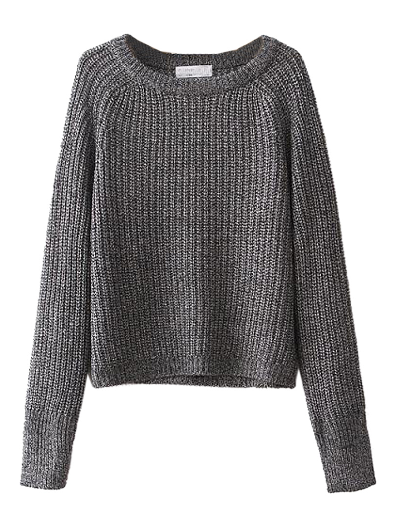 Long Sleeve Baisc Crop Knit Sweater - Choies.com