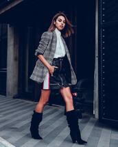 skirt,mini skirt,stripes,leather skirt,zipped skirt,boots,black  boots,suede boots,white shirt,high neck,blazer,check blazer,wool