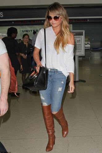 shoes boots chrissy teigen top jeans bag