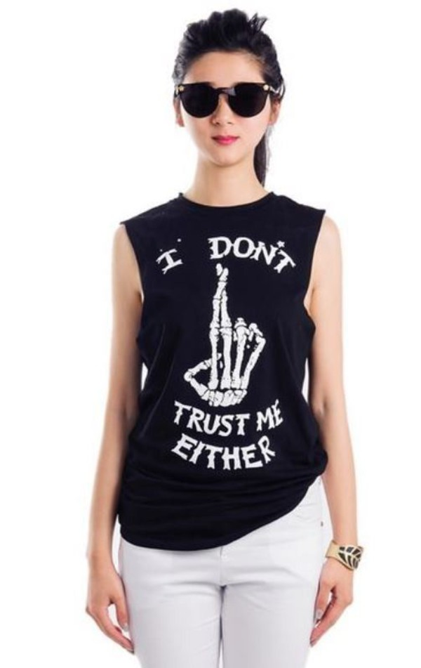black and white t shirt black and white tank top graphic tee graphic tank top i dont trust me either www.ustrendy.com