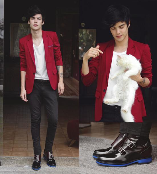 coat bangood fashion collar pocket suit men slim suit menswear pants shoes cats t-shirt stylish