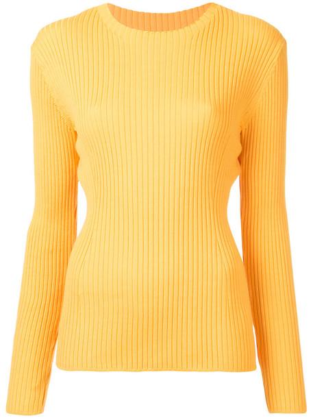 top women wool knit yellow orange