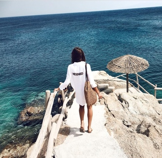 shirt white shirt beach bag travel sea beach summer holidays quote on it mermaid shirt dress raffia bag