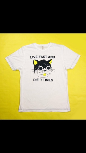 t-shirt casual spring style white cats grunge cool white t-shirt cat shirt grunge t-shirt