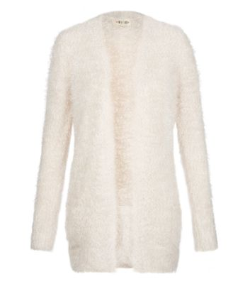 Cream Fluffy Textured Open Front Cardigan