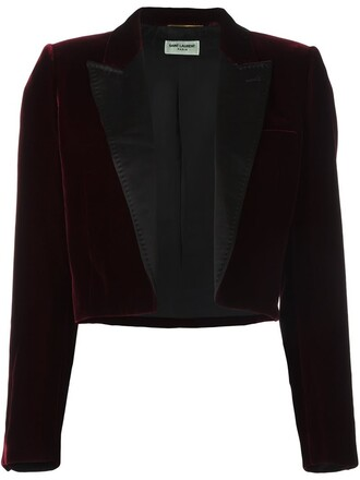 blazer women cotton silk velvet red jacket