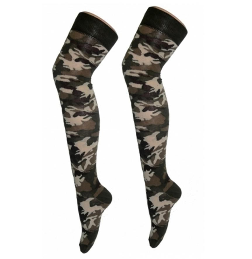 Army over the knee socks camouflage military fancy dress