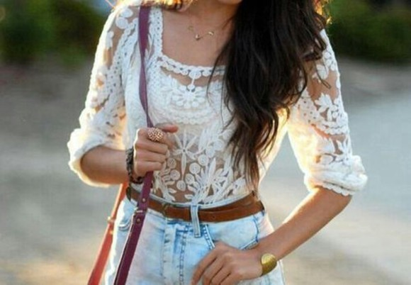 blouse crochet white blouse Belt
