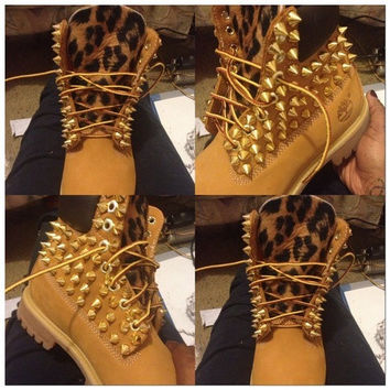 Customize Your Timberland boots, adult and children leopard and gold spikes on Wanelo
