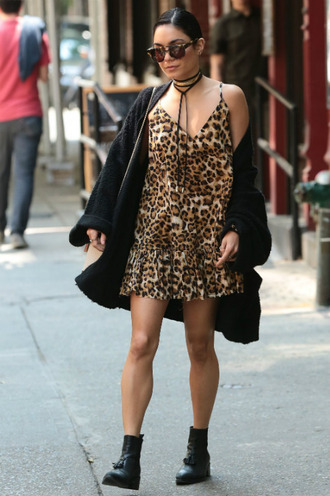 dress leopard print summer dress vanessa hudgens boots cardigan