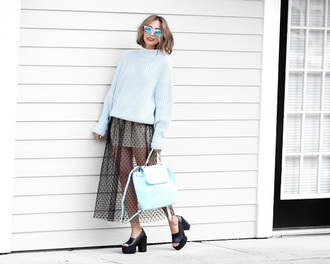 different cands blogger oversized sweater light blue blue bag pastel bag sheer tulle skirt mules