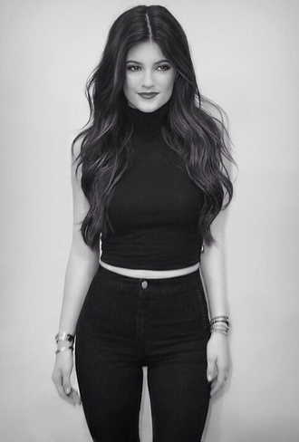 pants kylie jenner high waisted jeans crop tops shirt black jeans top
