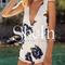 White v neck floral print jumpsuit -shein(sheinside)