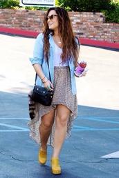 dress,demi lovato,jacket,sunglasses,bag,skirt,jewels,shoes