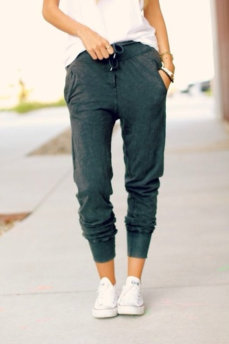 pants sweatpants gray pants pockets relaxed jeans