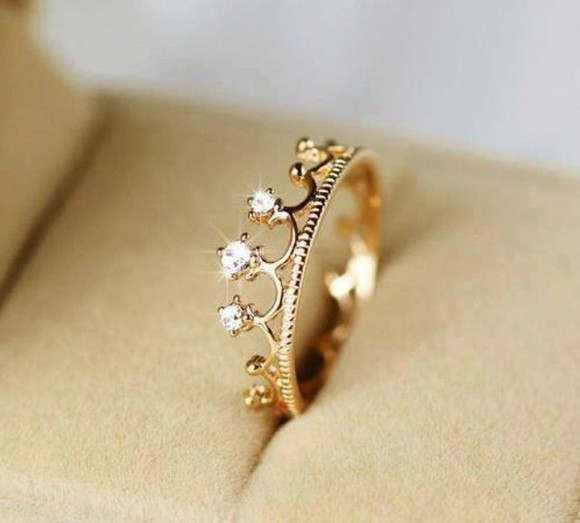 sparkle jewels crown queen gems gold ring princess gold rings crown ring