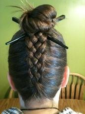 hair accessory,five,strand dutch braid,chopsticks