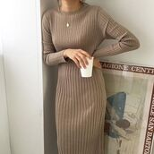 dress,long,midi,turtleneck,turtleneck dress,midi dress,fall outfits,winter outfits,warm,brown,camel,beige,neutral,light brown,long sleeve dress,long sleeves,sleeves,cable knit,cable,knit,long dress