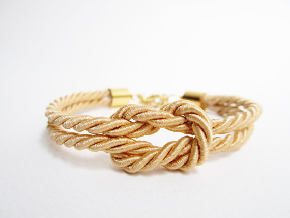 Bridesmaids gift square knot silk rope bracelet gold by room7070