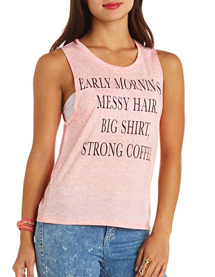 Early mornings marled graphic muscle tee: charlotte russe