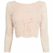 top,lace,crop tops,blush pink,dressy,blouse,pink,long sleeve crop top,blush,long sleeves,lace top