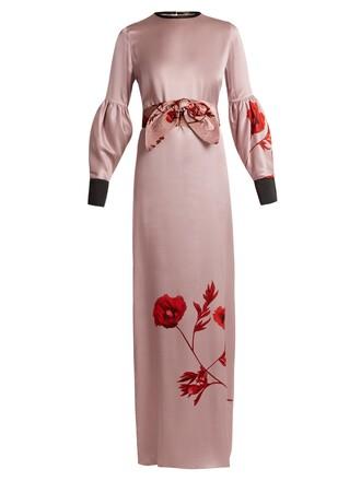 dress satin dress rose print silk satin pink