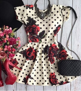 dress fashion polka dots rose floral black and white red spring girly cute rg