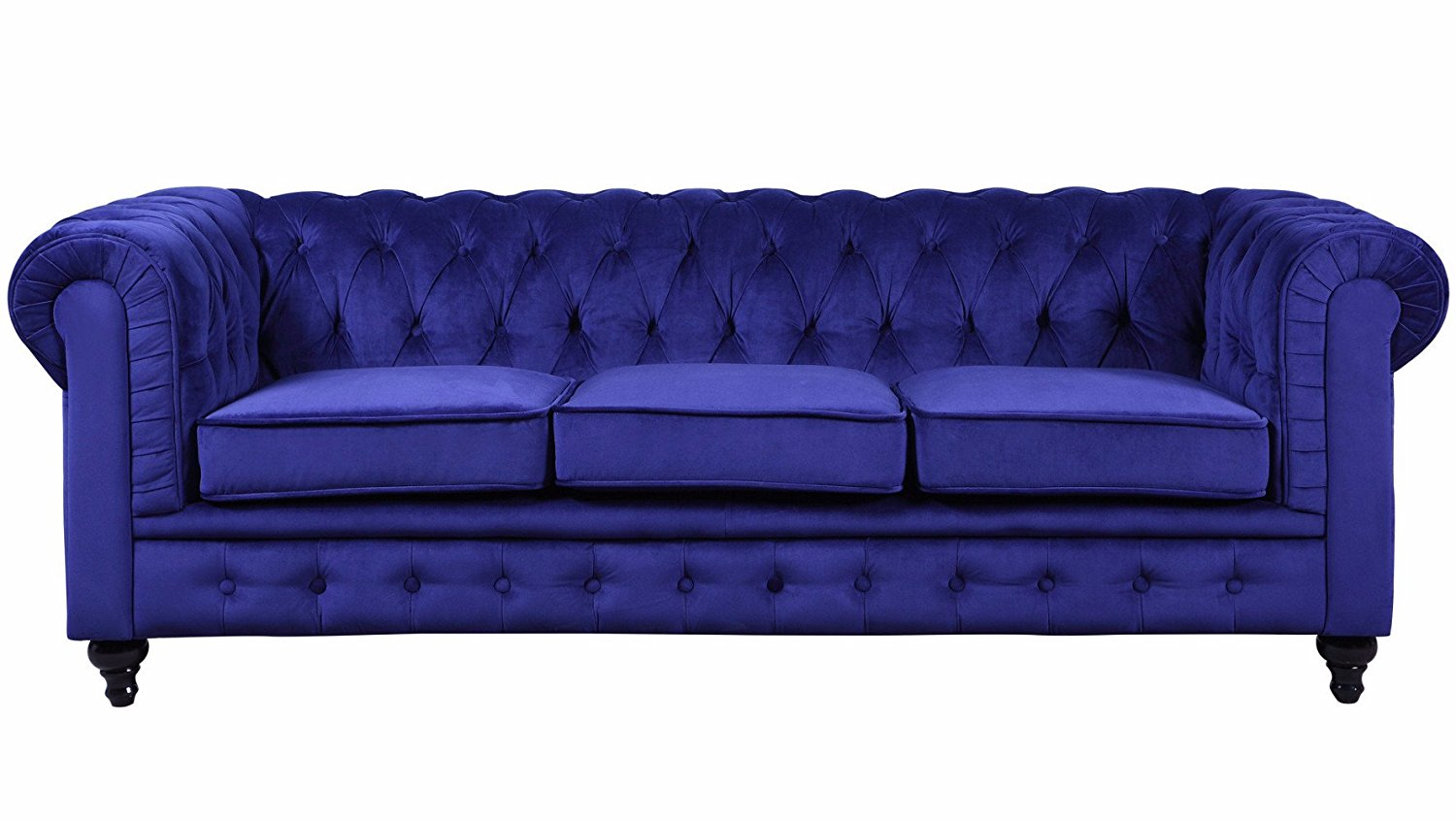 Amazon.com: Classic Velvet Scroll Arm Tufted Button Chesterfield Style Sofa (Navy): Kitchen & Dining