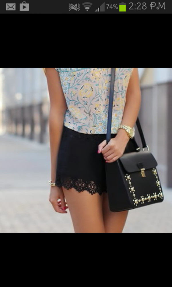 shorts embellished floral top starbucks coffee purse black blouse bag jewels