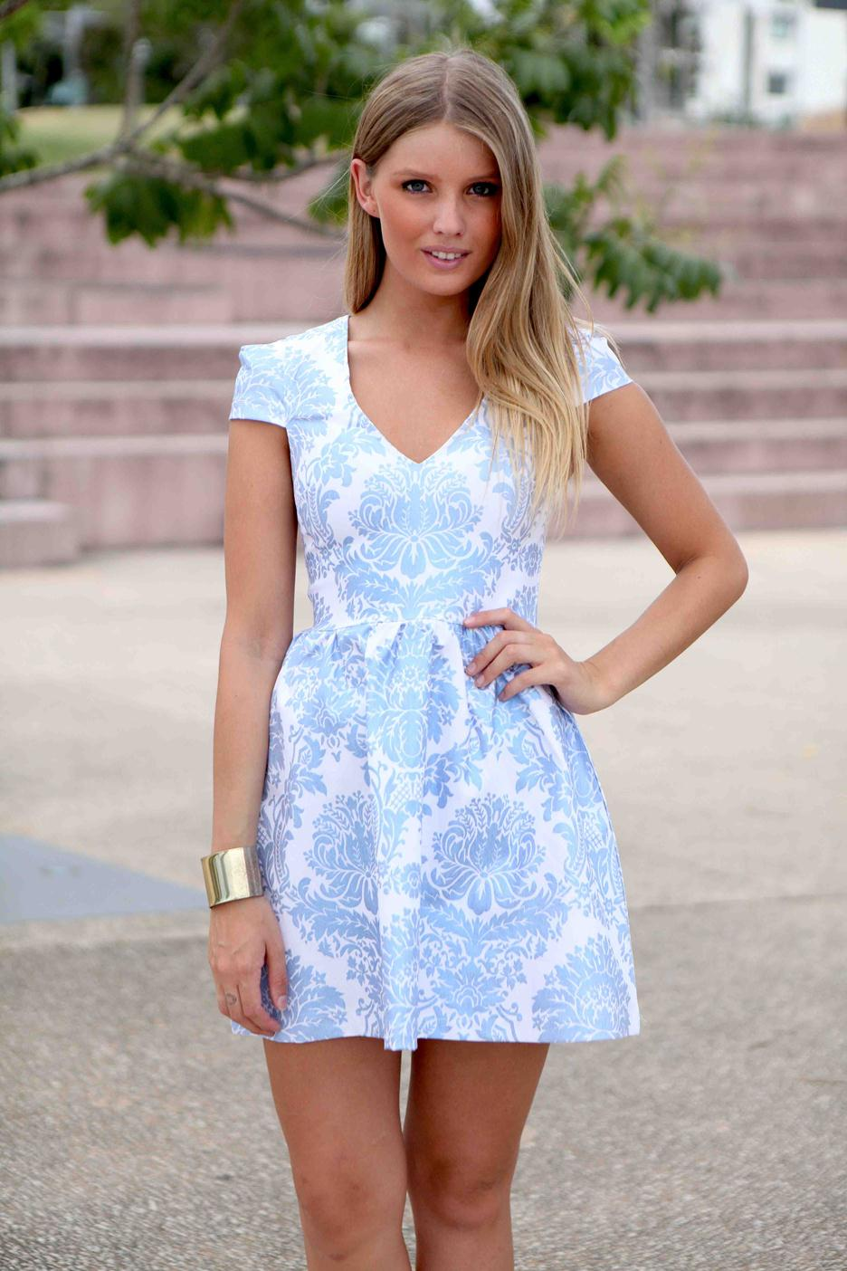 Blue Cocktail Dress - Blue Foil Printed Cap Sleeve | UsTrendy