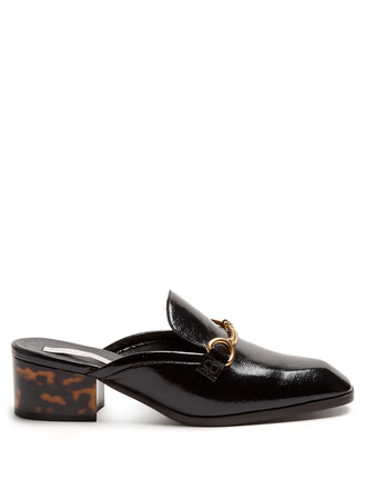 heel backless loafers leather black shoes