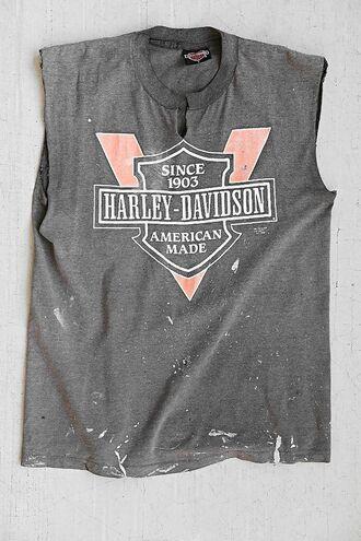 top crop tops harley grey black red motocycle tomboy harley davidson