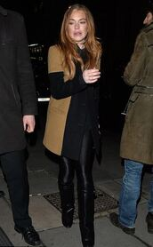 coat,boots,lindsay lohan,shoes